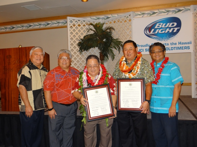 L-R Senator Clarence Nishihara, Representative Richard Onshi, Gordon Goo, Claude Onizuka, and Representative Mark Nakashima