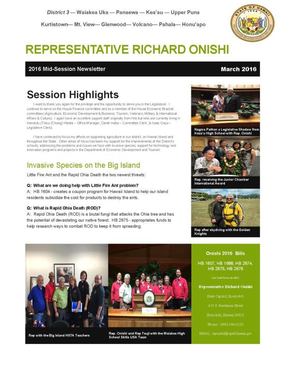 2016 Newsletter - Mid Session